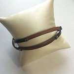 Copper & Black/Brown Leather Bracelet