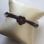 Copper & Purple Leather Bracelet with Flower