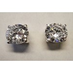 Sterling Silver CZ RD 7mm Solitaire Earrings
