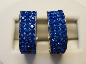 Sterling Silver Hugs Earrings BLUE Sparkle crystals