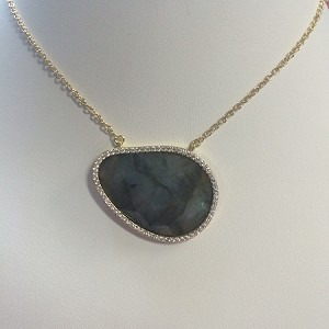 Labradorite Pear With CZ Pendant