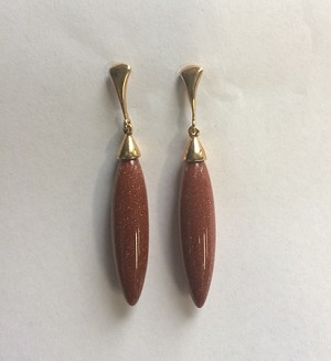 Red Gold Stone Tear Drop Earrings