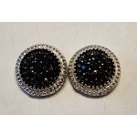 Sterling Silver Black and White CZ Dot Earrings