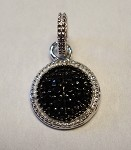 Sterling Silver Black and White CZ Dot Pendant