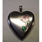 Heart Locket with Engraved Rose